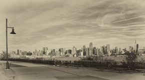 Orizzonte in bianco e nero di New York City Immagine Stock