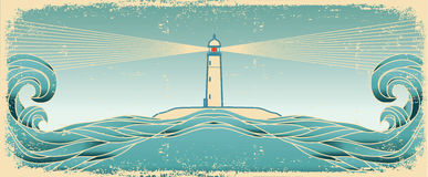 Orizzonte blu di vista sul mare. Immagine del grunge di vettore Fotografia Stock Libera da Diritti