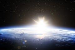 Orizzonte cinematografico di terra da spazio Immagine Stock Libera da Diritti