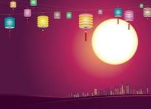 Orizzonte cinese della città delle lanterne di Mezzo autunno - Illustr Immagine Stock