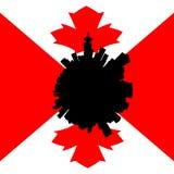 Orizzonte circolare di Vancouver con l'illustrazione canadese della bandiera illustrazione vettoriale