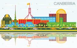 Orizzonte con le costruzioni di colore, cielo blu a della città di Canberra Australia illustrazione vettoriale
