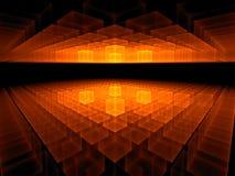 Orizzonte cubico ardente sul nero Immagine Stock Libera da Diritti