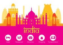 Orizzonte dei punti di riferimento dell'India con le icone della sistemazione Fotografia Stock