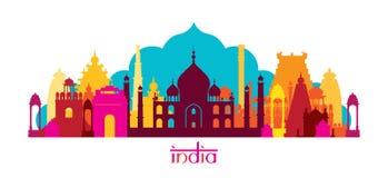 Orizzonte dei punti di riferimento di architettura dell'India, forma Immagine Stock