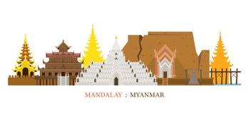 Orizzonte dei punti di riferimento di architettura di Mandalay, Myanmar illustrazione vettoriale