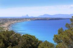 Orizzonte del Balearic Island Ibiza di vista aerea fotografia stock libera da diritti