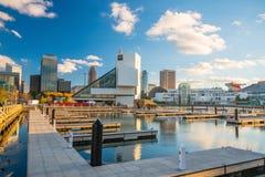 Orizzonte del centro di Cleveland dal fronte lago Fotografie Stock