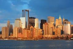 Orizzonte del centro di Manhattan Immagini Stock Libere da Diritti