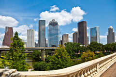 Orizzonte del centro di paesaggio urbano di Houston il Texas Fotografie Stock Libere da Diritti
