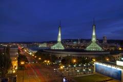 Orizzonte del centro di Portland Oregon all'ora blu 2 immagine stock libera da diritti