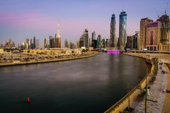 Orizzonte del centro del Dubai Fotografie Stock Libere da Diritti