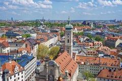 Orizzonte del centro urbano di Monaco di Baviera Fotografia Stock