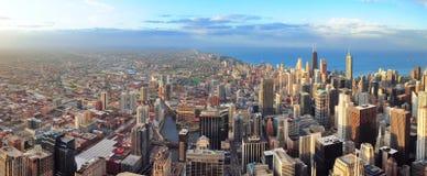 Orizzonte del Chicago al tramonto Immagine Stock Libera da Diritti