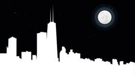 Orizzonte del Chicago alla notte Fotografia Stock Libera da Diritti