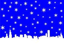 Orizzonte del Chicago in inverno Fotografia Stock Libera da Diritti