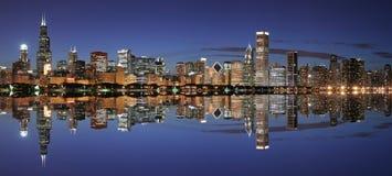 Orizzonte del Chicago panoramico Immagini Stock Libere da Diritti
