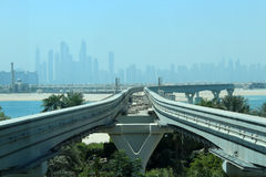 Orizzonte del Dubai come visto da Atlantide Fotografia Stock