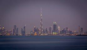Orizzonte del Dubai del centro Fotografie Stock