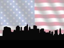 Orizzonte del Lower Manhattan con la bandierina illustrazione di stock