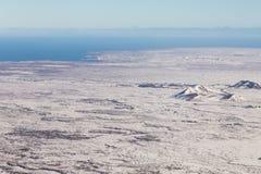 Orizzonte del paesaggio di inverno dell'Islanda di vista superiore Fotografia Stock