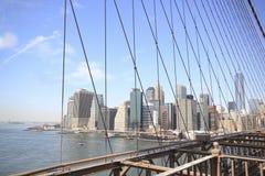Orizzonte del ponte di Brooklyn Immagine Stock Libera da Diritti