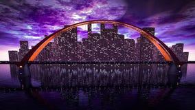 Orizzonte del ponte vicino alla città di notte Immagini Stock
