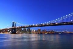 Orizzonte del ponticello di Manhattan e di Manhattan alla notte immagine stock libera da diritti