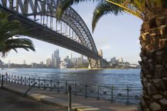 Orizzonte del porto del ponticello di Sydney Immagine Stock