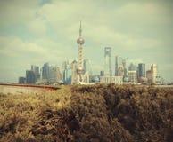 Orizzonte del punto di riferimento della diga di Shanghai Immagini Stock
