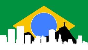 Orizzonte del Rio de Janeiro con la bandierina Brasile Immagini Stock Libere da Diritti