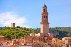 Orizzonte del villaggio di Jerica Castellon in Alto Palancia della Spagna Immagine Stock Libera da Diritti