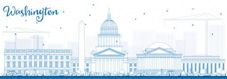 Orizzonte del Washington DC del profilo con le costruzioni blu Immagini Stock