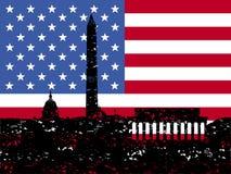 Orizzonte del Washington DC di Grunge con la bandierina illustrazione di stock