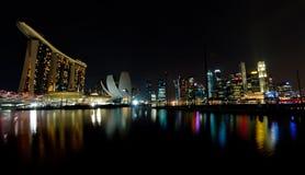 Orizzonte della baia del porticciolo di Singapore Fotografia Stock Libera da Diritti