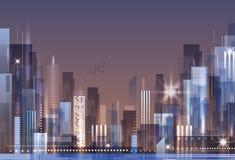 Orizzonte della città alla notte Fotografia Stock