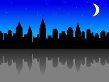 Orizzonte della città alla notte Fotografie Stock