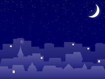 Orizzonte della città alla sera illustrazione vettoriale