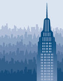 Orizzonte della città in blu Immagine Stock Libera da Diritti
