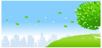 Orizzonte della città con l'albero specifico illustrazione di stock