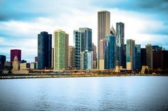 Orizzonte della città del Chicago Illinois Immagine Stock Libera da Diritti