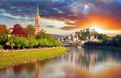 Orizzonte della città dell'Austria, Salisburgo Fotografia Stock