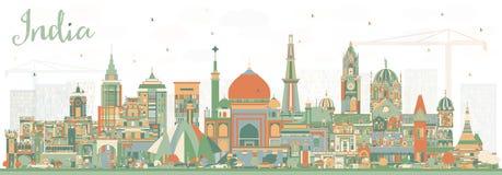Orizzonte della città dell'India con le costruzioni di colore delhi Mumbai, Bangalor royalty illustrazione gratis