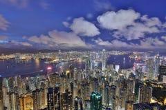 orizzonte della città della HK da Victoria Peak Fotografia Stock