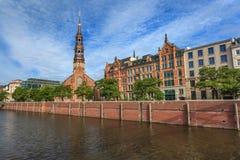Orizzonte della città di Amburgo Fotografie Stock Libere da Diritti