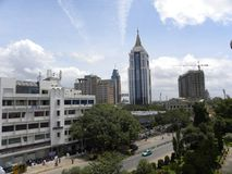 Orizzonte della città di Bangalore, il Karnataka, India - 8 settembre 2009 Bangalore con gli edifici alti fotografia stock