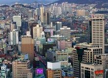Orizzonte della città di Busan fotografia stock libera da diritti