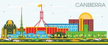 Orizzonte della città di Canberra Australia con le costruzioni di colore e la SK blu illustrazione di stock