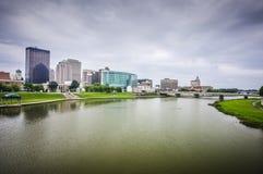 Orizzonte della città di Dayton Ohio Fotografie Stock Libere da Diritti