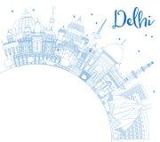 Orizzonte della città di Delhi India del profilo con le costruzioni blu con la copia S royalty illustrazione gratis
